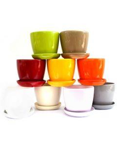 Ghiveci ceramic cu farfurie 16.5 cm, cod GH03