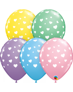 Baloane latex cu inimioare albe 28 cm 10 buc, cod 11644